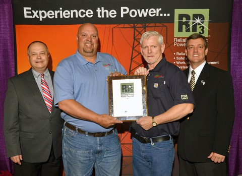 (L-R), Brent McKinney, chair of APPA's RP3 Review Panel, Keith Cutshall, CDE Lightband safety director, John Wallis, CDE Lightband working foreman, and Mike Hyland, APPA senior vice president of engineering and operations.