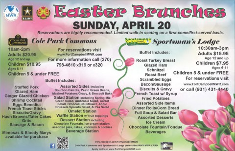 Easter Brunch menus for Fort Campbell's Cole Park Commons and Sportsman's Lodge.