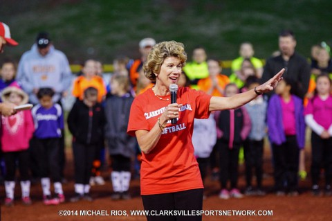 Clarksville Mayor Kim McMillan spoke at Clarksville National Softball League's Opening Ceremony.