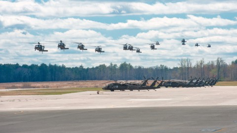 UH-60M Black Hawk helicopters with 5th Battalion, 101st Combat Aviation Brigade, 101st Airborne Division (Air Assault,) fly into Sabre Army Air Field to refuel during a rehearsal for Exercise Golden Eagle at Fort Campbell, Ky., April 4, 2014. Golden Eagle is a brigade-level air assault between 3rd Brigade Combat Team, 101st Airborne Division (AASLT,) and 101st CAB to refine air assault techniques. (Sgt. Duncan Brennan/U.S. Army)