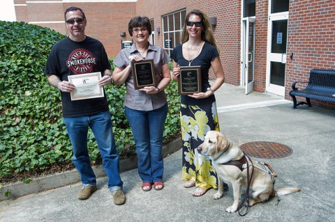 James Noar, Janet Norman and Tracy Bettencourt were all recently honored by the Tennessee Association of Higher Education and Disability. (Photo by Taylor Slifko/APSU).