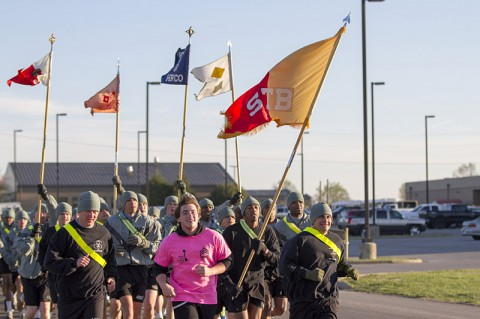 The 101st Special Troops Battalion, 101st Sustainment Brigade, 101st Airborne Division Air Assault, conducted a battalion run for fallen members of the battalion April 16, at Fort Campbell. (U.S. Army photo by Sgt. Leejay Lockhart, 101st Sustainment Brigade Public Affairs)