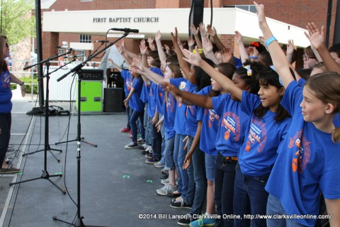 The Barksdale Elementary School Bengal PAC perform at the 2014 Rivers and Spires Festival