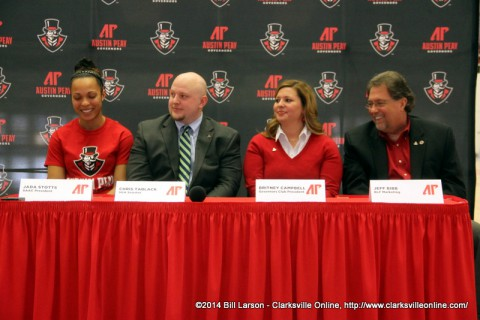 Jada Stotts, a junior volleyball player and President of the Student-Athlete Advisory Council (SAAC); Chris Tablack, APSU student government senator; Britney Campbell, Legends Bank vice-president of marketing and Governors Club president;  and Jeff Bibb, BLF Marketing Managing Partner and APSU Athletics Hall of Fame director;