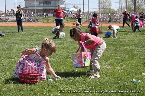 Children gather eggs at the City of Clarksville Spring Eggstravaganza