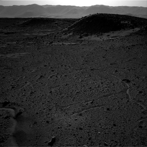 This image from the Navigation Camera (Navcam) on NASA's Curiosity Mars rover includes a bright spot near the upper left corner. (NASA/JPL-Caltech)