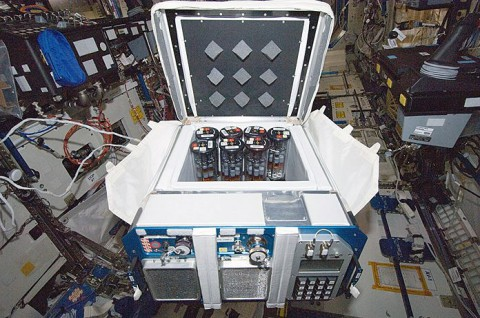 Group Activation Pack cylinders similar to these, pictured within the Commercial Generic Bioprocessing Apparatus, were used to study the fungal pathogen C. albicans aboard space shuttle Atlantis. (NASA)