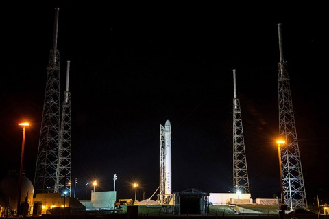 The SpaceX Falcon 9 rocket with a Dragon commercial cargo craft on top rests at its launch pad on March 1, 2013, at the Cape Canaveral Air Force Station in Florida. (NASA/Bill Ingalls)