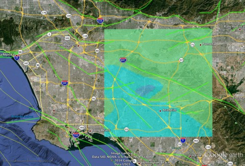 JPL scientists modeled the March 28, 2014 magnitude 5.1 quake near Los Angeles based on USGS seismic data. This model image shows how the quake may appear to airborne radar, such as NASA's UAVSAR, which will survey the area soon. Blue shades indicate the greatest surface displacement. (NASA/JPL-Caltech/USGS/Google Earth)