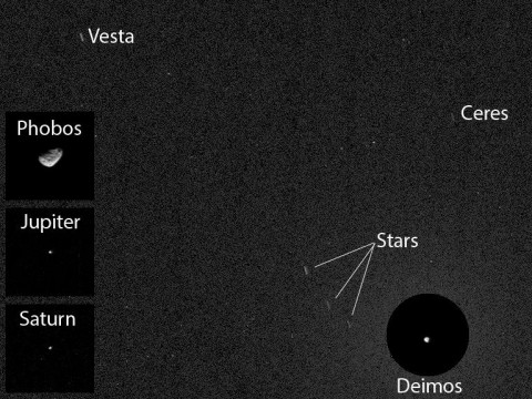 NASA's Curiosity Mars rover has caught the first image of asteroids taken from the surface of Mars. The image includes two asteroids, Ceres and Vesta. This version includes Mars' moon Deimos in a circular, exposure-adjusted inset and square insets at left from other observations the same night.