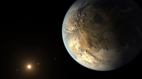 The artist's concept depicts Kepler-186f, the first validated Earth-size planet to orbit a distant star in the habitable zone. (NASA)