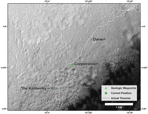 "This map shows the route driven by NASA's Curiosity Mars rover from the ""Bradbury Landing"" location where it landed in August 2012 (the start of the line in upper right) to a major waypoint called ""the Kimberley."" (NASA/JPL-Caltech/Univ. of Arizona)"