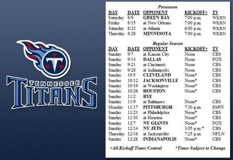 Tennessee Titans 2014 Schedule