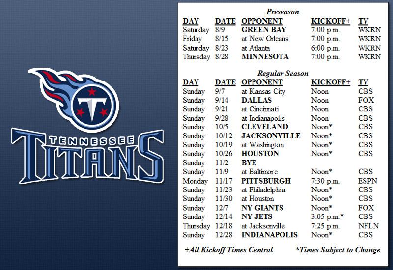 9ece06e5 Tennessee Titans releases 2014 Schedule