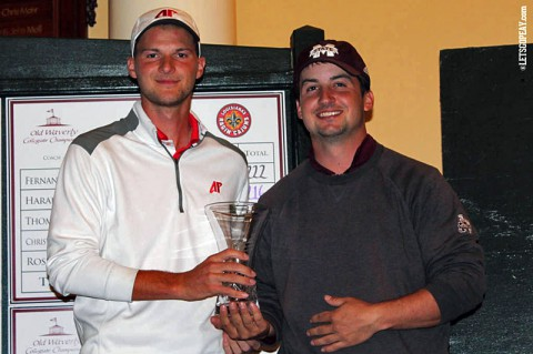 Austin Peay Marco Iten (left) and Mississippi State's Barrett Edens (right) tie for first place at the Old Waverly Collegiate Championship. (APSU Sports Information)