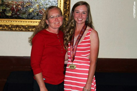 "Austin Peay's Jessica Cathey (right) selected to All-Ohio Valley Conference women's golf team. APSU coach Sara Robson (left) said ""She is well-deserving."" (APSU Sports Information)"