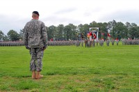 Col. Val C. Keaveny, Jr., former commander 4th Brigade Combat Team, 101st Airborne Division (Air Assault), stands in front of the brigade formation during the inactivation and relinquishment of command ceremony at the division parade field on Fort Campbell, KY, April 25th, 2014. (U.S. Army photo by Sgt. Justin A. Moeller, 4th BCT Public Affairs)
