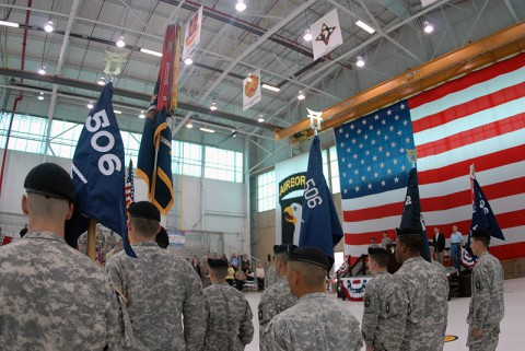 """Formal recognition ceremony of the addition of 2nd Battalion, 506th Infantry Regiment """"White Currahee"""" to the 3rd Brigade Combat Team """"Rakkasans"""", 101st Airborne Division."""