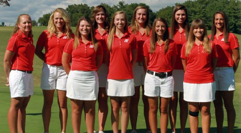2013-14 APSU Lady Govs Golf – (Left to Right Front Row) Morgan Gardner, Jessica Cathey, Rachel Deaton, Meghan Mueller; (Left to Right Back Row) Head coach Sara Robson, Kelsey Schutt, Amber Bosworth, Tala Mumford, Morgan Kauffman and Amy McCollum.