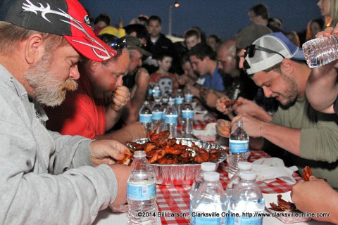 A Hot Wing Eating Contest was just one of the events Friday night that kicked off Hilltop Market's BBQ Cook Off.