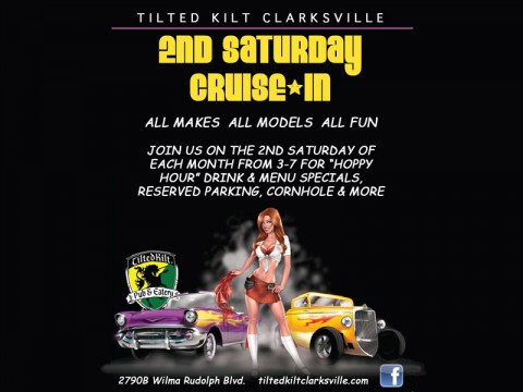 Clarksville's Tilted Kilt 2nd Saturday Cruise In