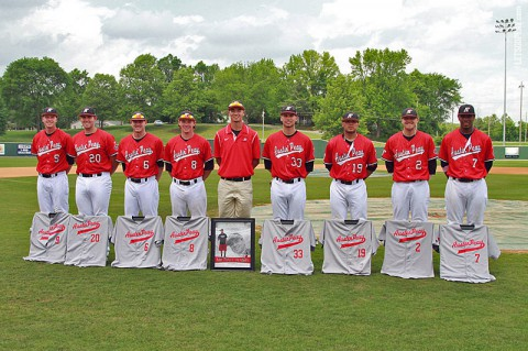 Austin Peay recognized its seniors prior to the start of Sunday's game. Austin Peay defeated UT Martin, 10-2, to level its OVC set. (Brittney Sparn/APSU Sports Information)