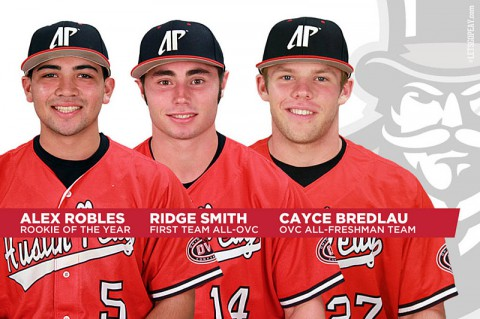 Austin Peay's Robles, Smith and Bredlau pick up OVC hardware. (APSU Sports Information)