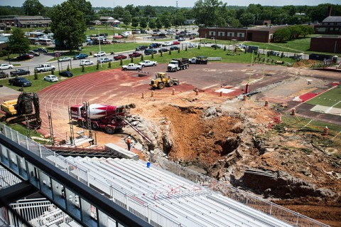 The sinkhole at Governors Stadium on Wednesday, May 21st, 2014. (APSU)
