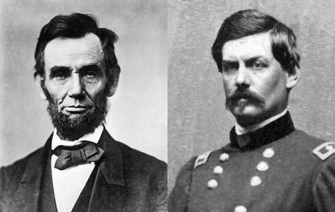 (L) Abraham Lincoln and (R) George B. McClellan.