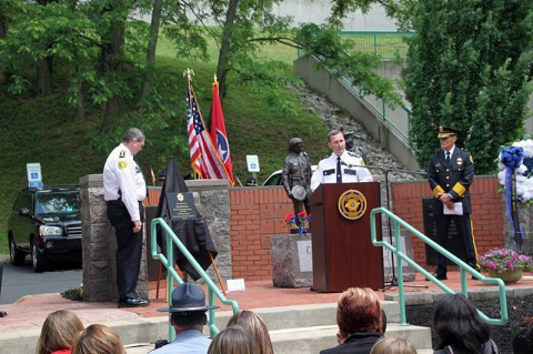 Bubba Johnson being hornored at Clarksville's Police Memorial Week Ceremony Thursday. (Misty Mackens CPD TIBRS Clerk)
