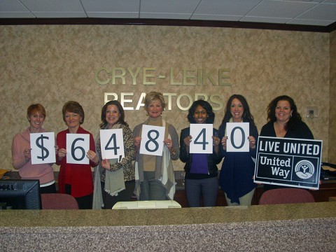 Realtors and employees from Crye-Leike made the company's 2013 United Way campaign a big success raising $64,840 for their neighbors in need. Since first opening the company doors in 1977, Crye-Leike has proudly supported many charitable organizations including United Way, Youth Villages, Habitat for Humanity and numerous other local charities in the communities it serves.