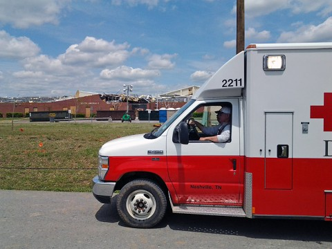 America Red Cross helping tornado victims in Lincoln County.