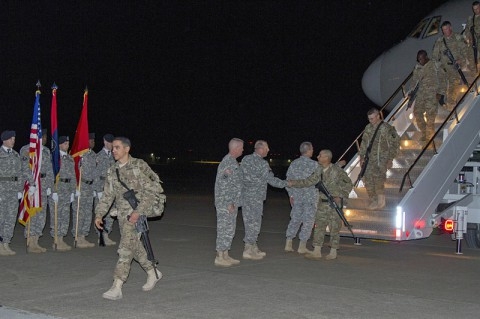 Leaders from the 101st Airborne Division (Air Assault) and 101st Sustainment Brigade greet returning Soldiers from the 227th Quartermaster Company, 129th Combat Sustainment Support Battalion, 101st Sust. Bde., 101st Abn. Div., as they return from a nine-month deployment to Afghanistan May 4, at Fort Campbell, Ky. (U.S. Army photo by Sgt. 1st Class Mary Rose Mittlesteadt, 101st Sustainment Brigade Public Affairs)