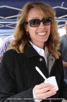 Laura Boyd, the Blanchfield Army Community Hospital Public Affairs Officer samples some Yogurt