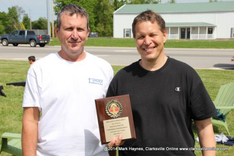 (L to R) Mike Sykes and Gary Ferguson won the Palmyra Volunteer Fire Department Cornhole Tournament.