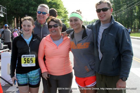 Terry Tobin with her family shortly after finishing the 2014 Queen City Road Race