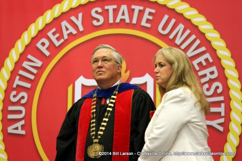 APSU President Tim Hall and his wife Lee oversee his last commencement as President at Austin Peay State University