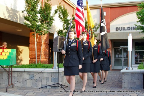 The Montgomery Central JROTC Color Guard posts the colors