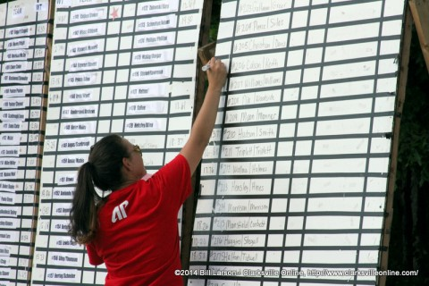 A volunteer updates the standings board at the 2014 APSU Governor's Bass Tournament