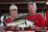 The 7.47 pound Big Bass caught by 4th Place finishers Donnie and Lila Williams of Paris