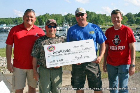 Doug Storie and David Schmidt of Tennessee Ridge, who brought in 21.85 pounds of bass and took home $1,500