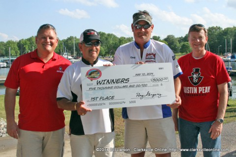 Brian Cook and Calvin Cothron, of Springfield, Tennessee were declared the winners of the 20th Annual Governors Bass Tournament with a 24.71 pound stringer of bass.