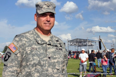 Col. Thomas Drew, the commander of the 101st Combat Aviation Brigade at the 2014 Week of the Eagles Concert on Friday