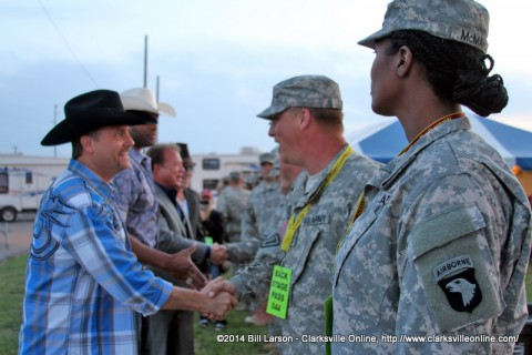 Big and Rich with special guest Cowboy Troy  and Ronnie Barrett meets with the soldiers before their performance at the 2014 Week of the Eagles Concert on Friday