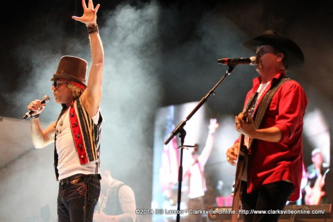 Big Kenny and John Rich performing during the 2014 Week of the Eagles Concert on Friday