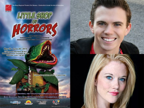 "Ryan Bowie and Alicia Jayne Kelly star in ""Little Shop of Horrors"" at the Roxy Regional Theatre, May 30th through June 28th."