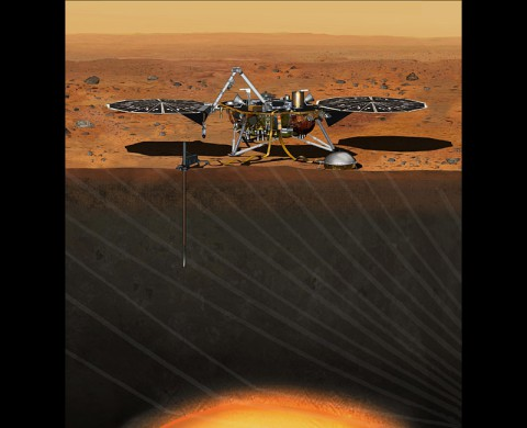 This artist's concept depicts the stationary NASA Mars lander known by the acronym InSight at work studying the interior of Mars. (NASA/JPL-Caltech)