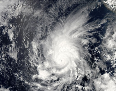 Amanda, the first named storm of the 2014 hurricane season in the Americas, is seen off the west coast of Mexico in an image acquired on May 25 by the Moderate Resolution Imaging Spectrometer (MODIS) on NASA's Aqua satellite. At the time of the image, Amanda was a category 4 hurricane. Amanda's winds peaked at 155 miles (250 kilometers) per hour, making it the strongest May hurricane on record in the eastern Pacific. (NASA/MODIS)