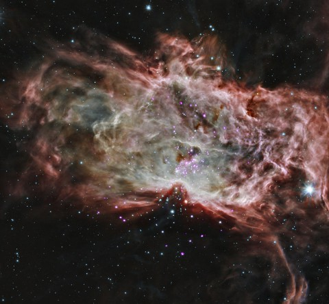 Stars are often born in clusters, in giant clouds of gas and dust.
