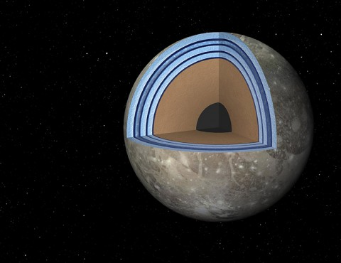 "This artist's concept of Jupiter's moon Ganymede, the largest moon in the solar system, illustrates the ""club sandwich"" model of its interior oceans. (NASA/JPL-Caltech)"